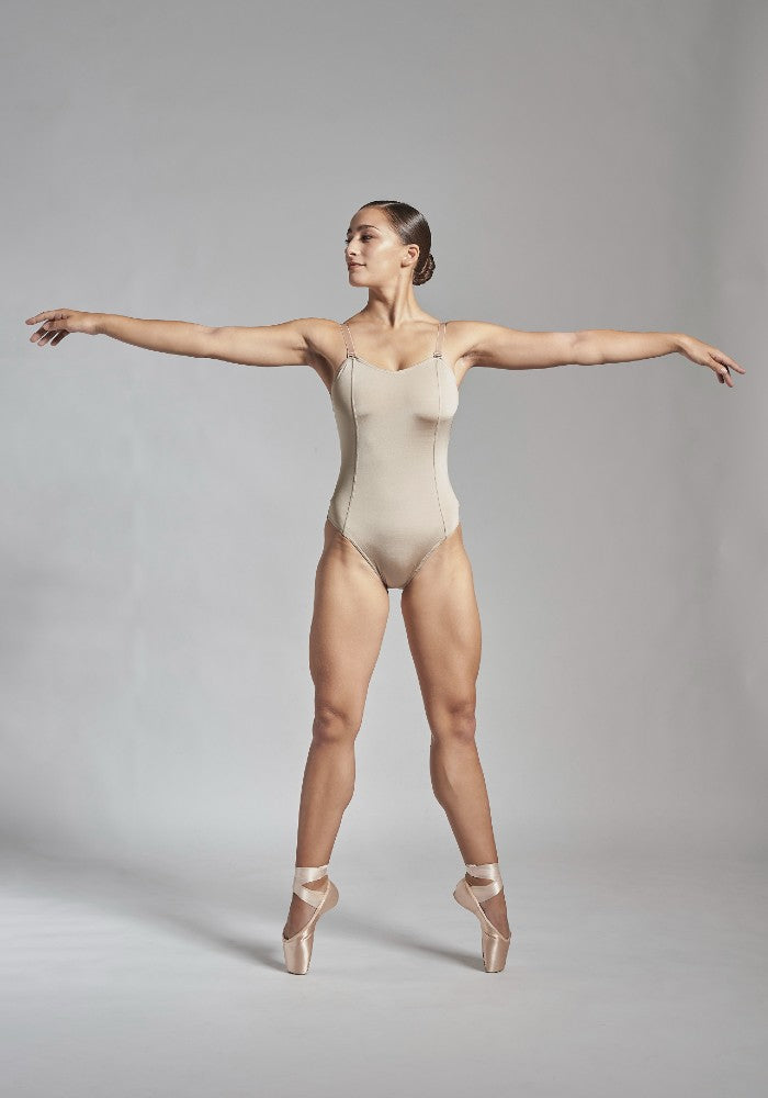 Front view of the Titania leotard in taupe Aisy Dance made with ECONYLu00ae regenerated nylon