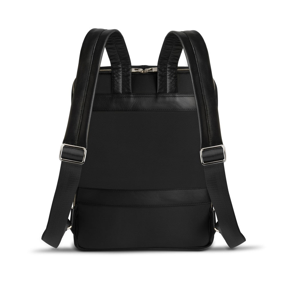 Back view of The Gallery Backpack aoifeu00ae color Black made with ECONYLu00ae regenerated nylon