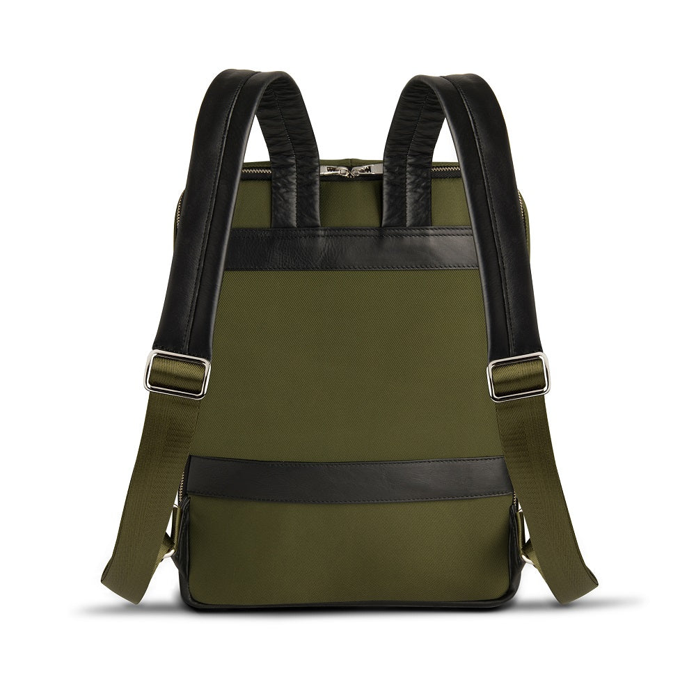 Back view of The Gallery Backpack aoifeu00ae color Military green made with ECONYLu00ae regenerated nylon
