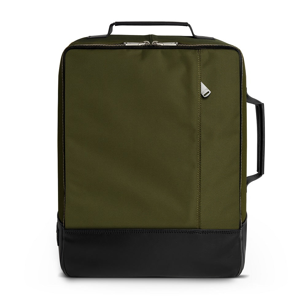 Front view of The Gallery Backpack aoifeu00ae color Military green made with ECONYLu00ae regenerated nylon