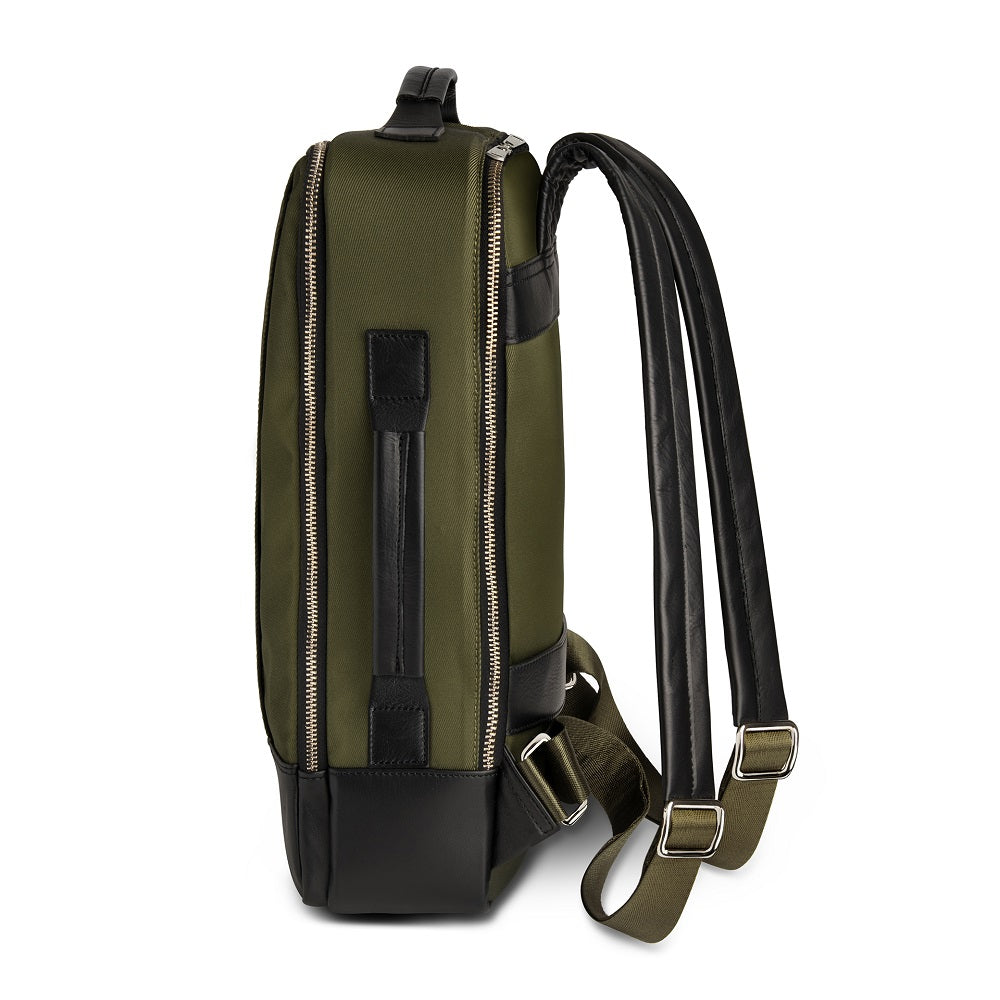 Side view of The Gallery Backpack aoifeu00ae color Military green made with ECONYLu00ae regenerated nylon