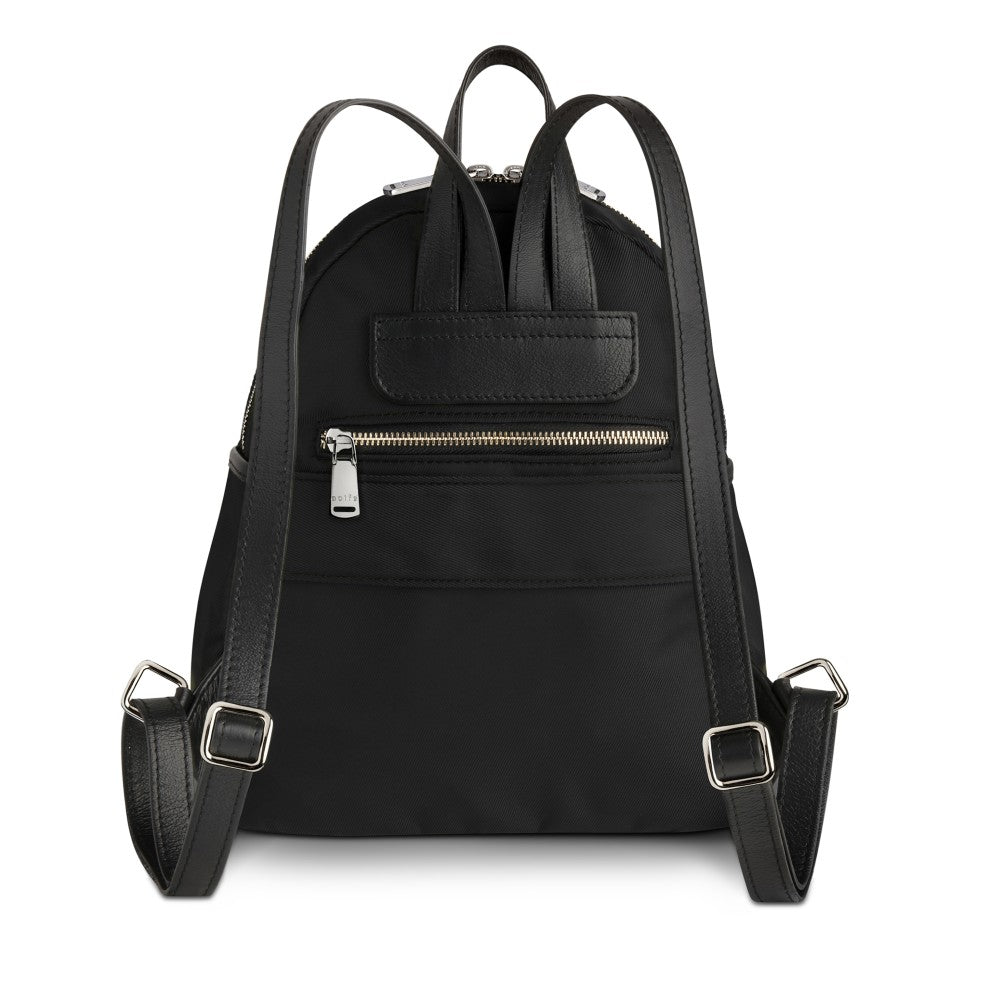 Back view of The Gallery Backpack Petite aoifeu00ae color Black made with ECONYLu00ae regenerated nylon