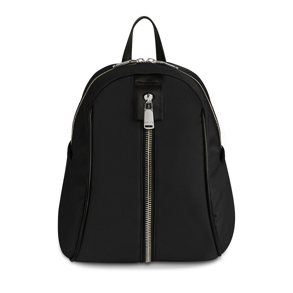 Front view of The Gallery Backpack Petite aoifeu00ae color Black made with ECONYLu00ae regenerated nylon