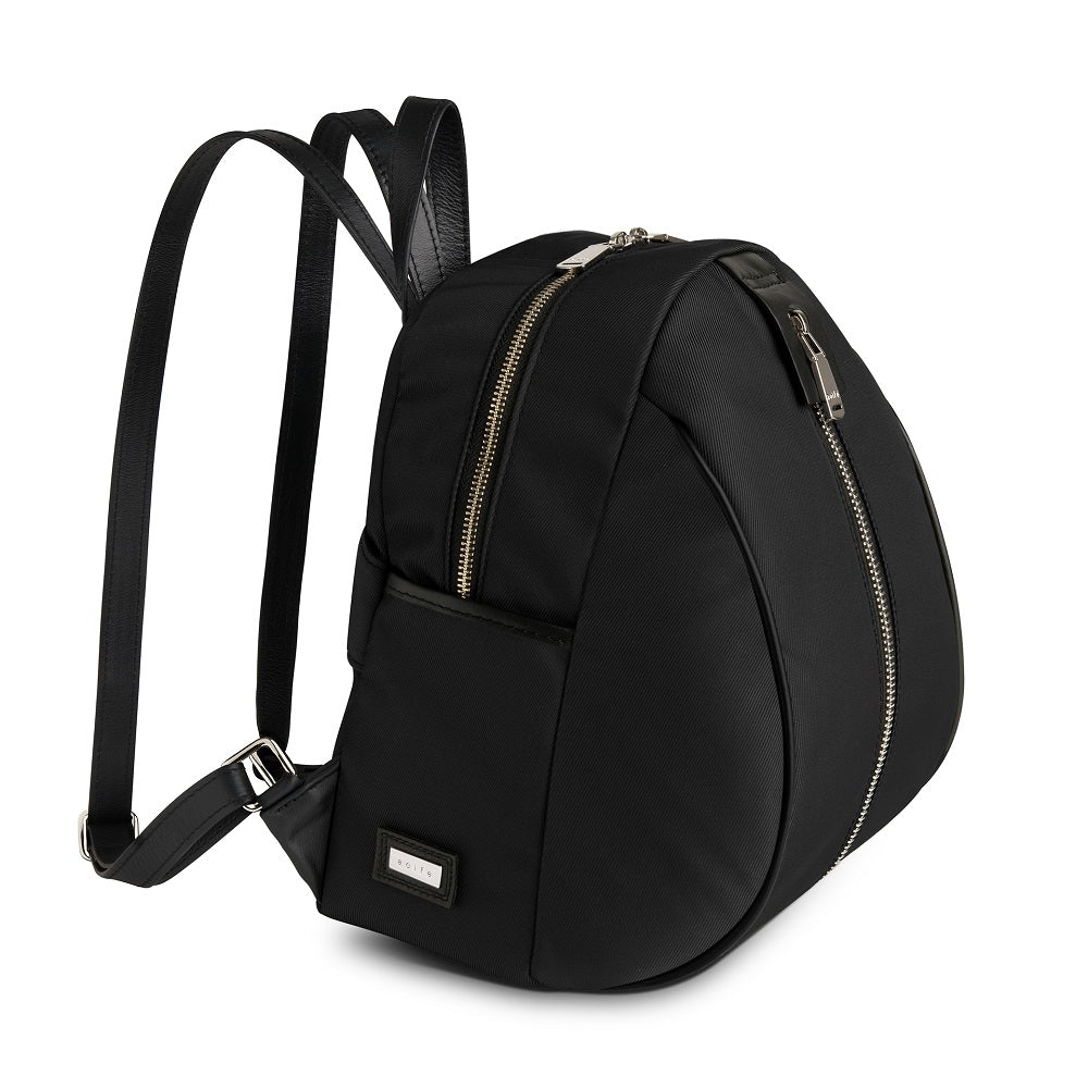 Side view of The Gallery Backpack Petite aoifeu00ae color Black made with ECONYLu00ae regenerated nylon