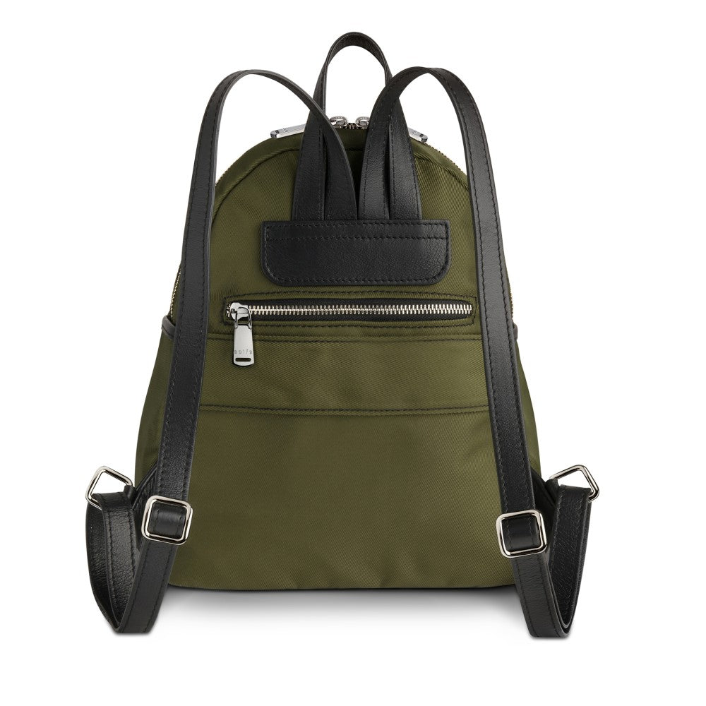 Back view of The Gallery Backpack Petite aoifeu00ae color Military green made with ECONYLu00ae regenerated nylon