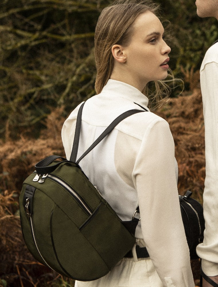 The Gallery Backpack Petite aoifeu00ae color Military green made with ECONYLu00ae regenerated nylon