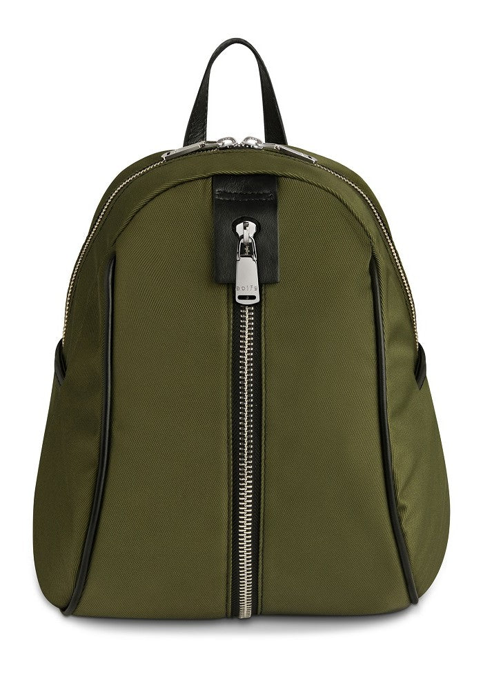 Front view of The Gallery Backpack Petite aoifeu00ae color Military green made with ECONYLu00ae regenerated nylon