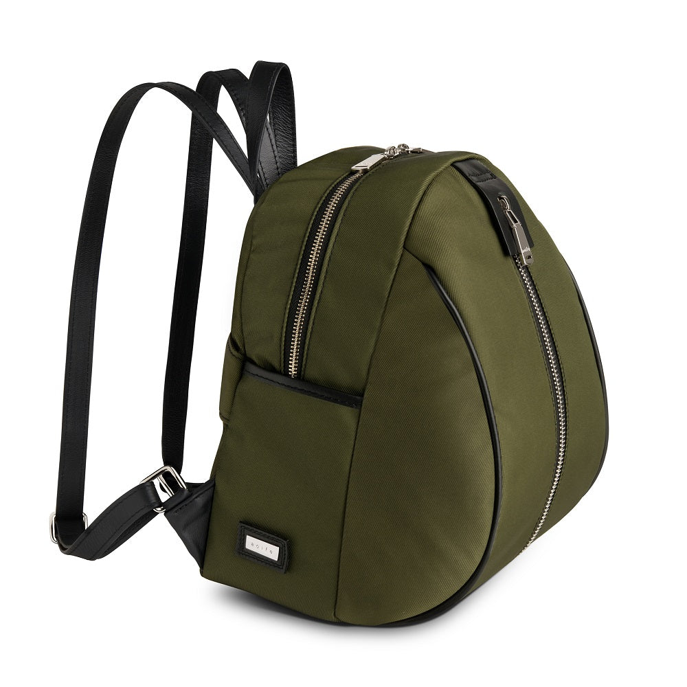 Side view of The Gallery Backpack Petite aoifeu00ae color Military green made with ECONYLu00ae regenerated nylon