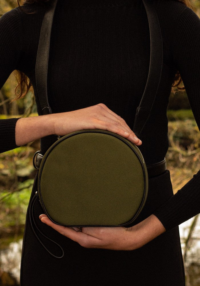 The Gallery Messenger bag aoifeu00ae color Military green made with ECONYLu00ae regenerated nylon