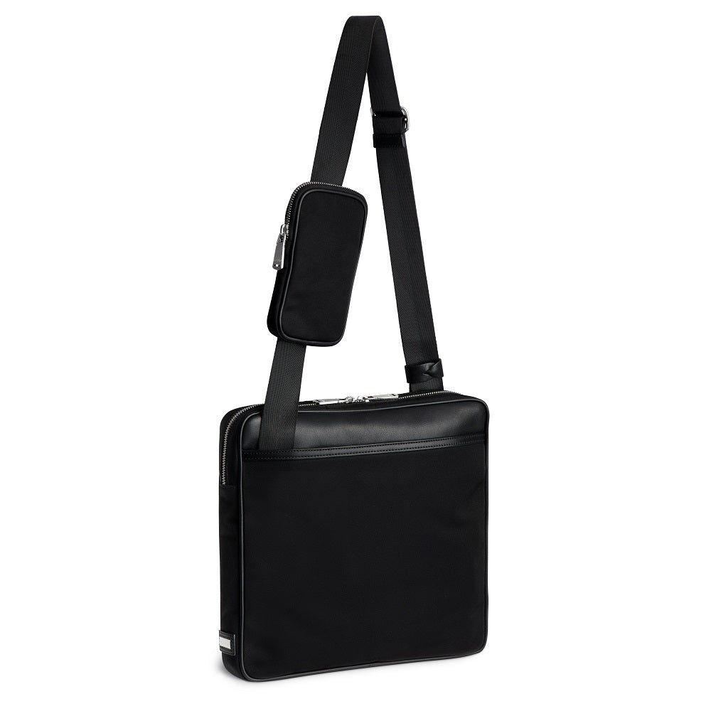 Front view of The Gallery Messenger bag aoifeu00ae color Black made with ECONYLu00ae regenerated nylon