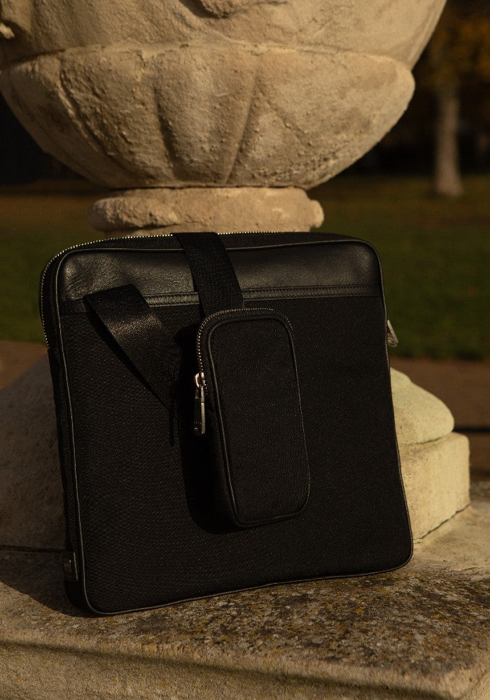 The Gallery Messenger bag aoifeu00ae color Black made with ECONYLu00ae regenerated nylon