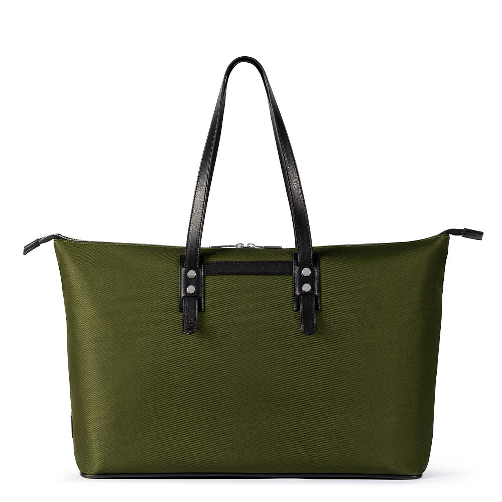 Front view of The Gallery Tote To Backpack aoifeu00ae color Military green made with ECONYLu00ae regenerated nylon