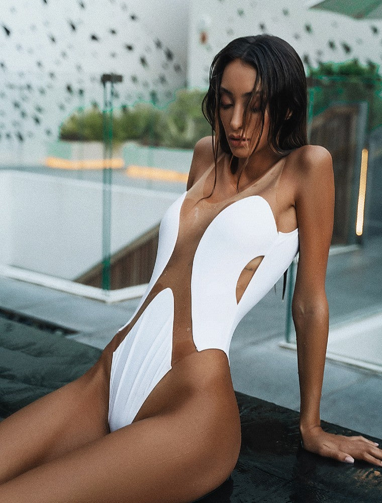 Elements White One Piece Swimsuit Botanical Beach Babes color White made with ECONYLu00ae regenerated nylon