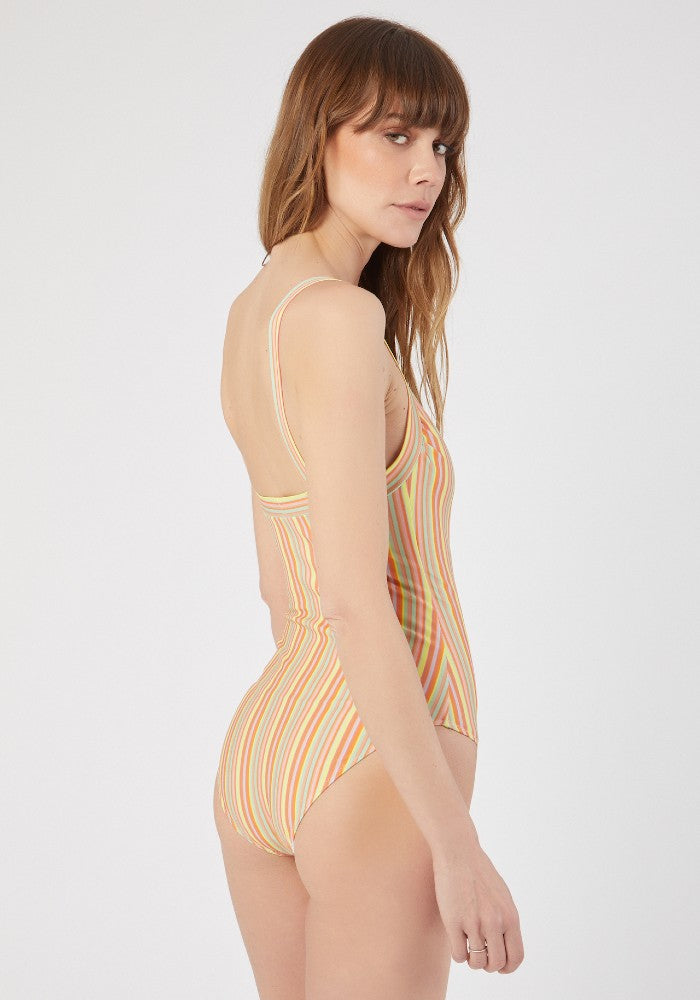 Back view of the Multistripes I Bambi Swimsuit C'est la V made with ECONYLu00ae regenerated nylon