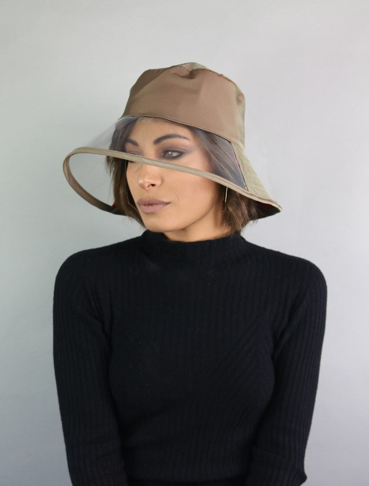 Bau, the waterproof bucket hat by Complit color Green Sage made with ECONYLu00ae regenerated nylon