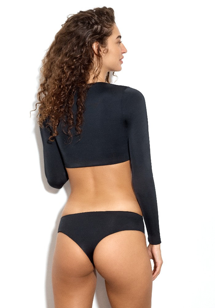 Back view of the Capri Square: The Modern Square Long Sleeve Crop Top by Dos Gardenias color Black made with ECONYLu00ae regenerated nylon