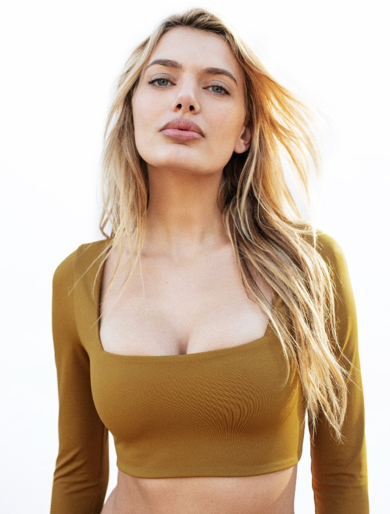 Capri Square: The Modern Square Long Sleeve Crop Top by Dos Gardenias color Bronze made with ECONYLu00ae regenerated nylon