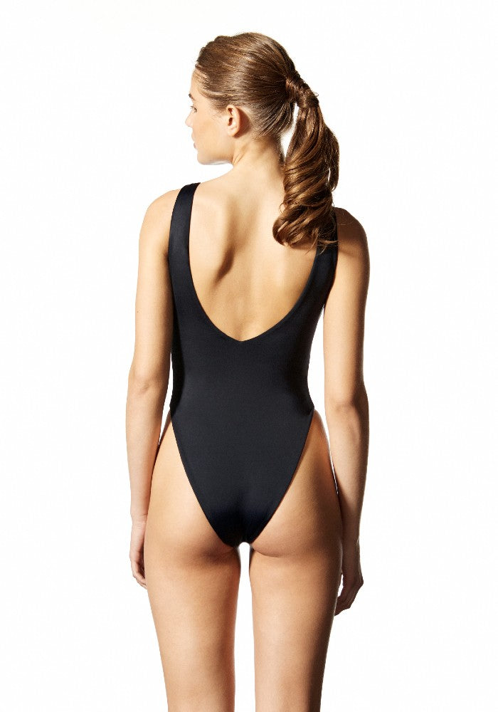 Back view of the Hero Square: The High-Cut Square One Piece Swimsuit by Dos Gardenias color Black made with ECONYLu00ae regenerated nylon