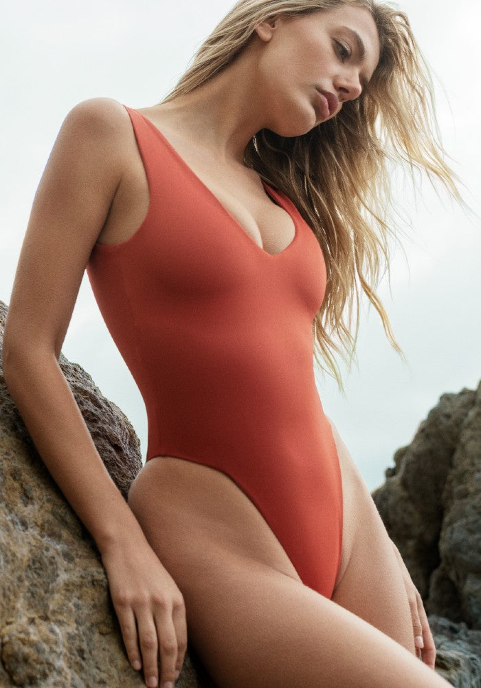 Hero Square: The High-Cut Square One Piece Swimsuit by Dos Gardenias color Red made with ECONYLu00ae regenerated nylon