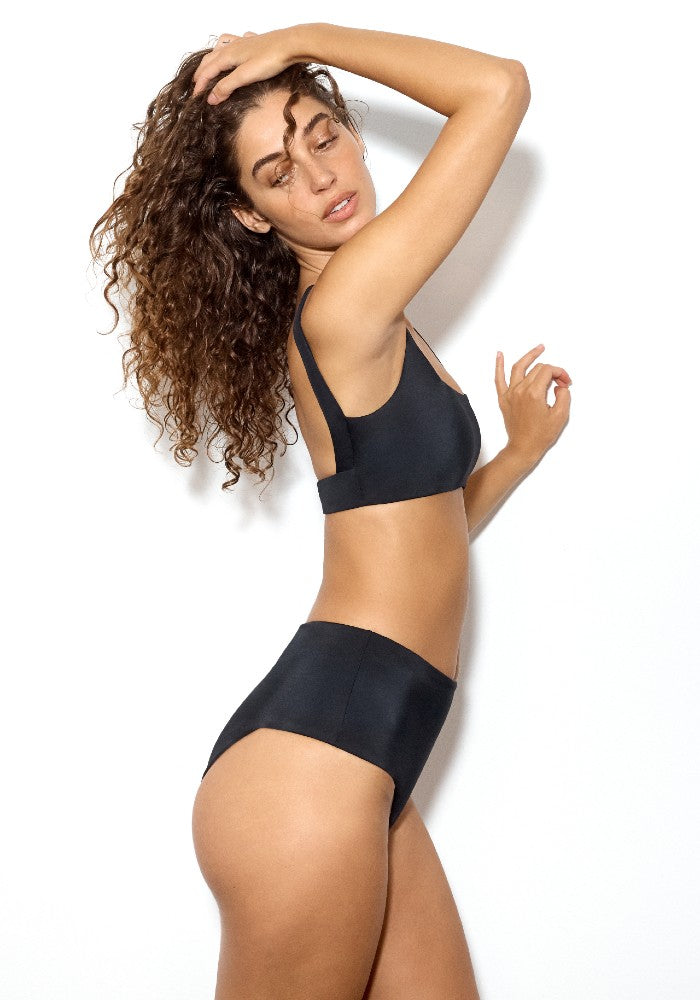 Side view of the Stein Square: The Square Neck Bikini Top by Dos Gardenias color Black made with ECONYLu00ae regenerated nylon