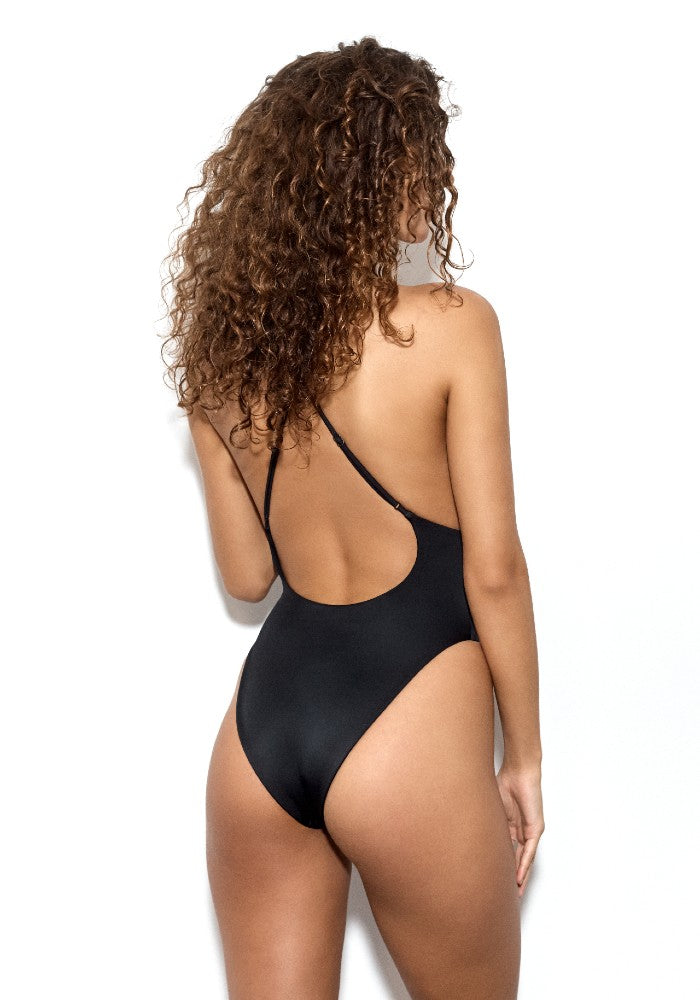 Back view of the Vicious: The Dos Gardenias Signature Suit Swimsuit color Black made with ECONYLu00ae regenerated nylon