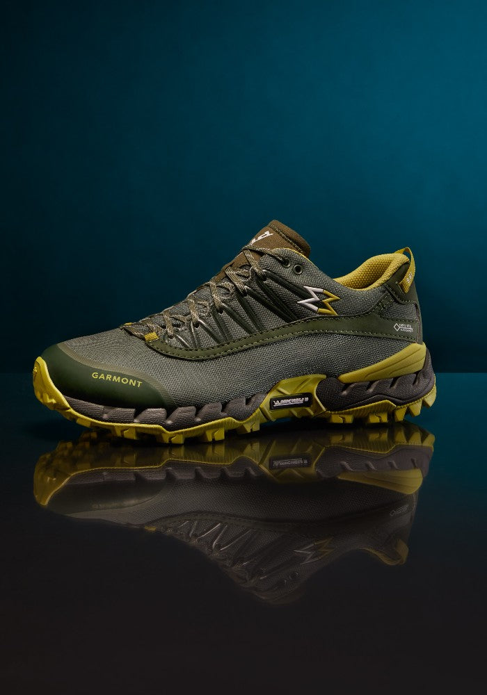 Detail of the 9.81 N.AIR.G 2.0 GTX Man Shoes Garmont Footwear color Green made with ECONYLu00ae regenerated nylon