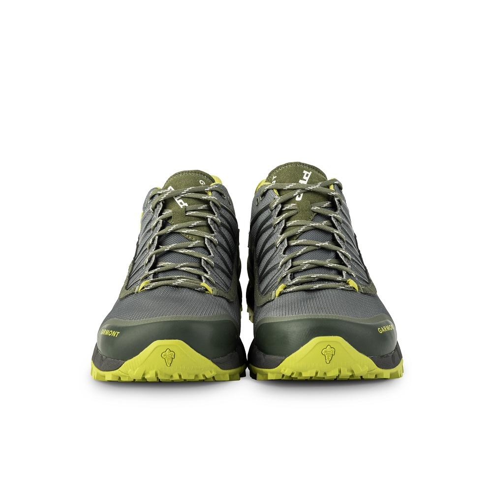 Front view of the 9.81 N.AIR.G 2.0 GTX Man Shoes Garmont Footwear color Green made with ECONYLu00ae regenerated nylon