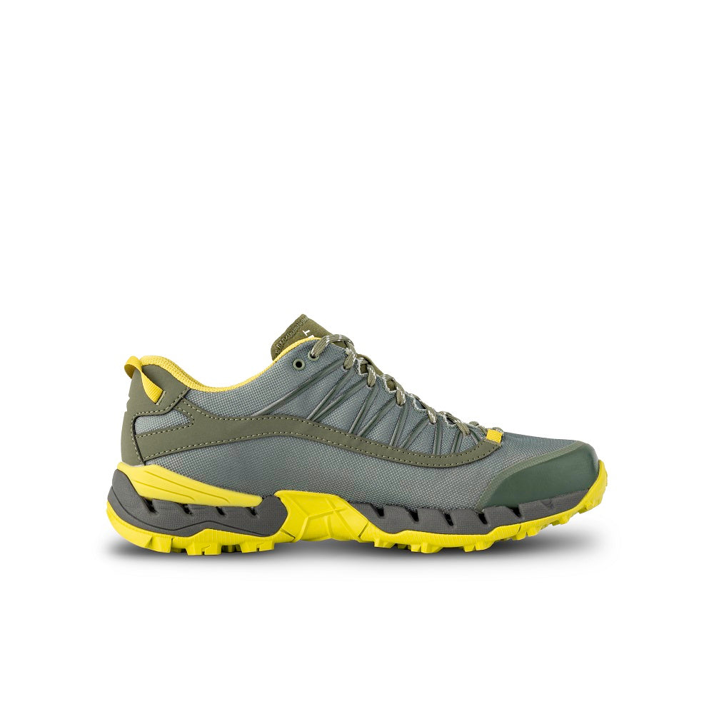 Side view of the 9.81 N.AIR.G 2.0 GTX Man Shoes Garmont Footwear color Green made with ECONYLu00ae regenerated nylon