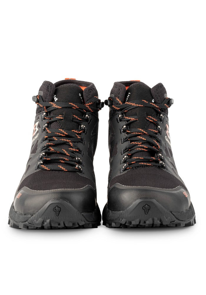 Front view of the 9.81 N.AIR.G 2.0 MID GTX WMS Woman Shoes Garmont Footwear color Black made with ECONYLu00ae regenerated nylon