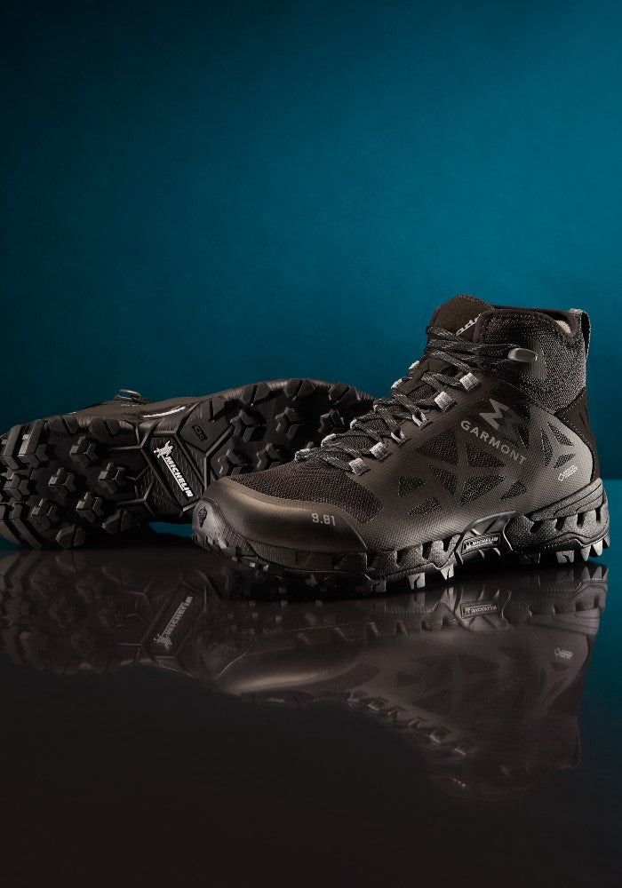 Detail of the 9.81 N.AIR.G 2.0 MID GTX Man Shoes Garmont Footwear color Black made with ECONYLu00ae regenerated nylon