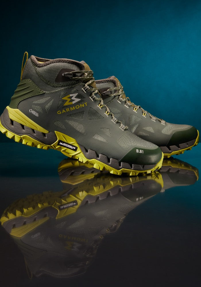 Detail of the 9.81 N.AIR.G 2.0 MID GTX Man Shoes Garmont Footwear color Green made with ECONYLu00ae regenerated nylon