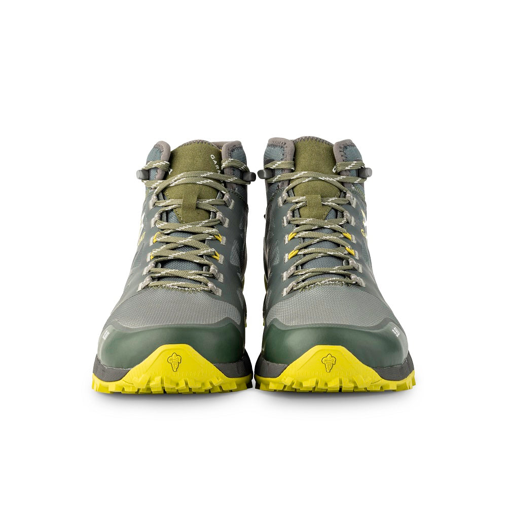 Front view of the 9.81 N.AIR.G 2.0 MID GTX Man Shoes Garmont Footwear color Green made with ECONYLu00ae regenerated nylon
