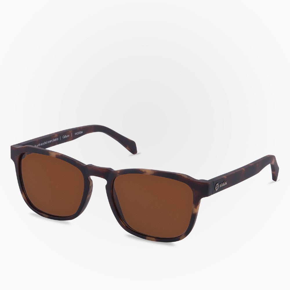 Side view of the Sunglasses Calbuco Karun color Havana Brown made with ECONYLu00ae regenerated nylon