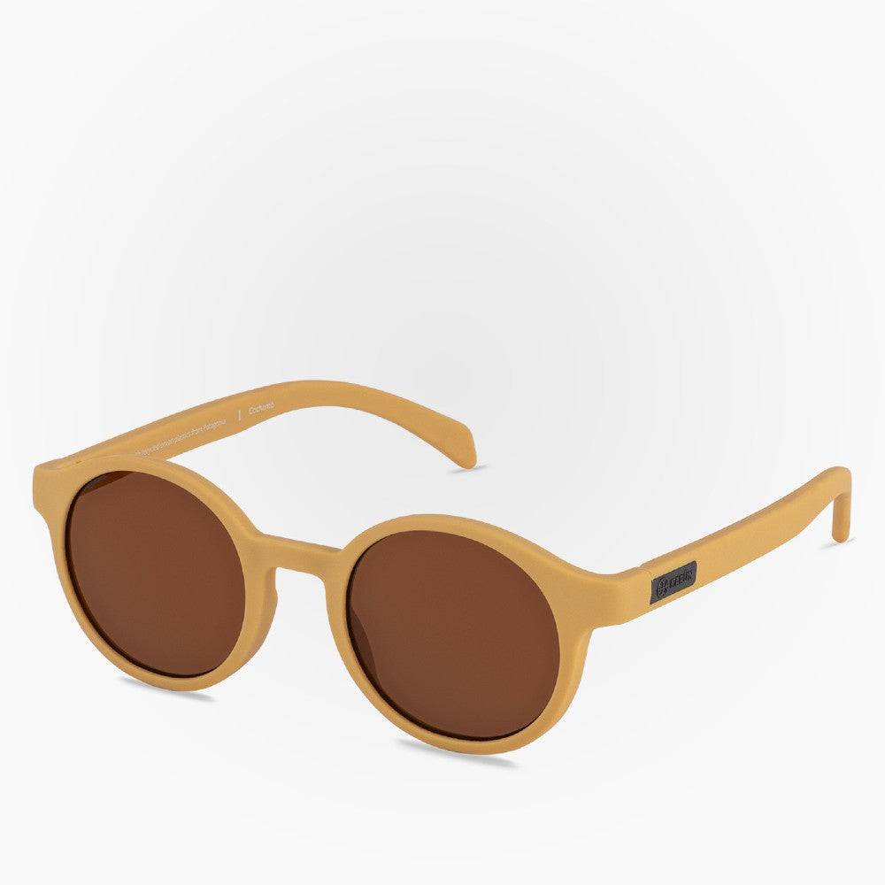 Side view of the Sunglasses Cochamo Karun color Yellow made with ECONYLu00ae regenerated nylon