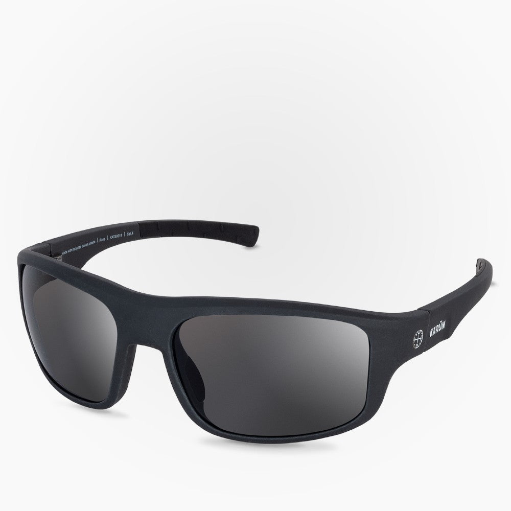Side view of the Sunglasses Kona Karun color Black made with ECONYLu00ae regenerated nylon