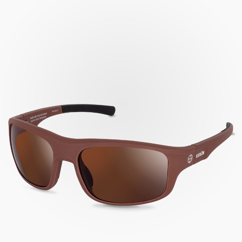 Side view of the Sunglasses Kona Karun color Brown made with ECONYLu00ae regenerated nylon