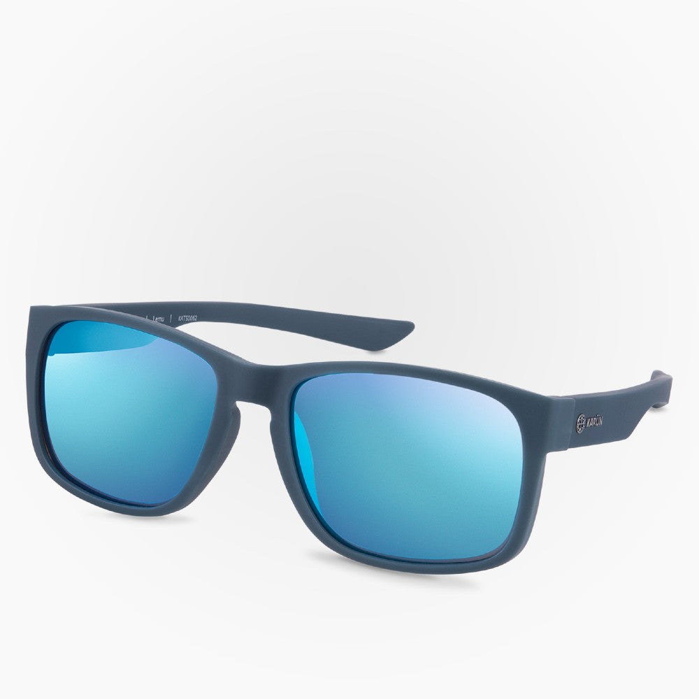 Side view of the Sunglasses Lemu Karun color Blue made with ECONYLu00ae regenerated nylon