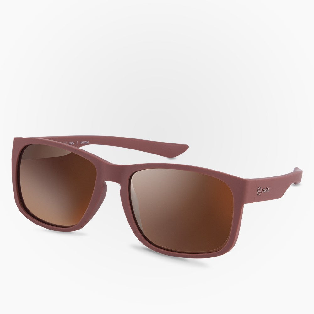 Side view of the Sunglasses Lemu Karun color Brown made with ECONYLu00ae regenerated nylon