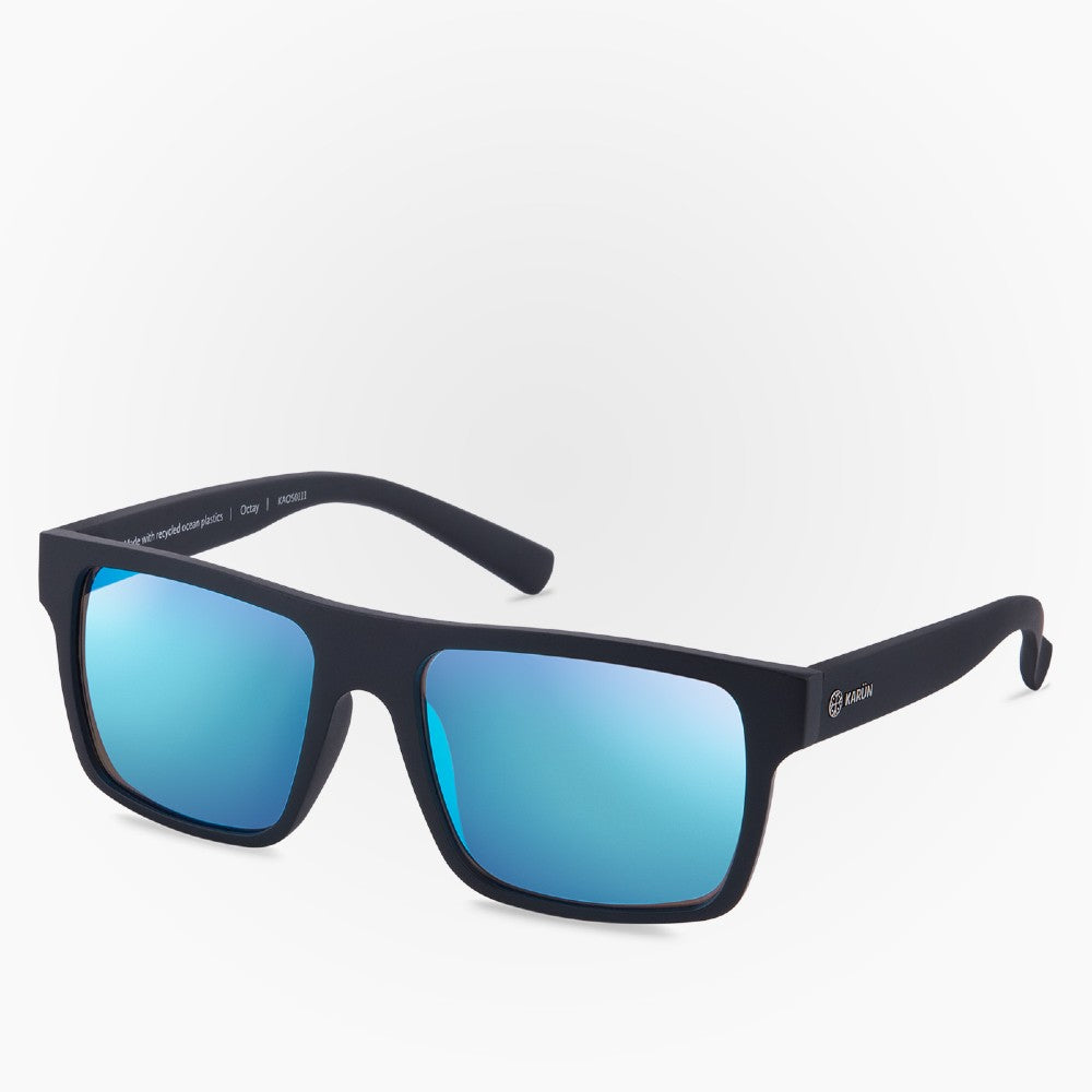 Side view of the Sunglasses Octay Karun color Black and Blue made with ECONYLu00ae regenerated nylon