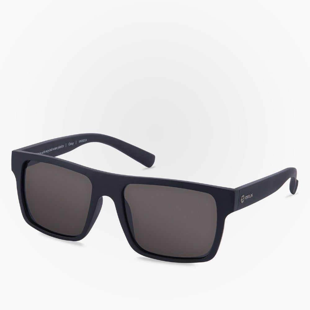 Side view of the Sunglasses Octay Karun color Black made with ECONYLu00ae regenerated nylon