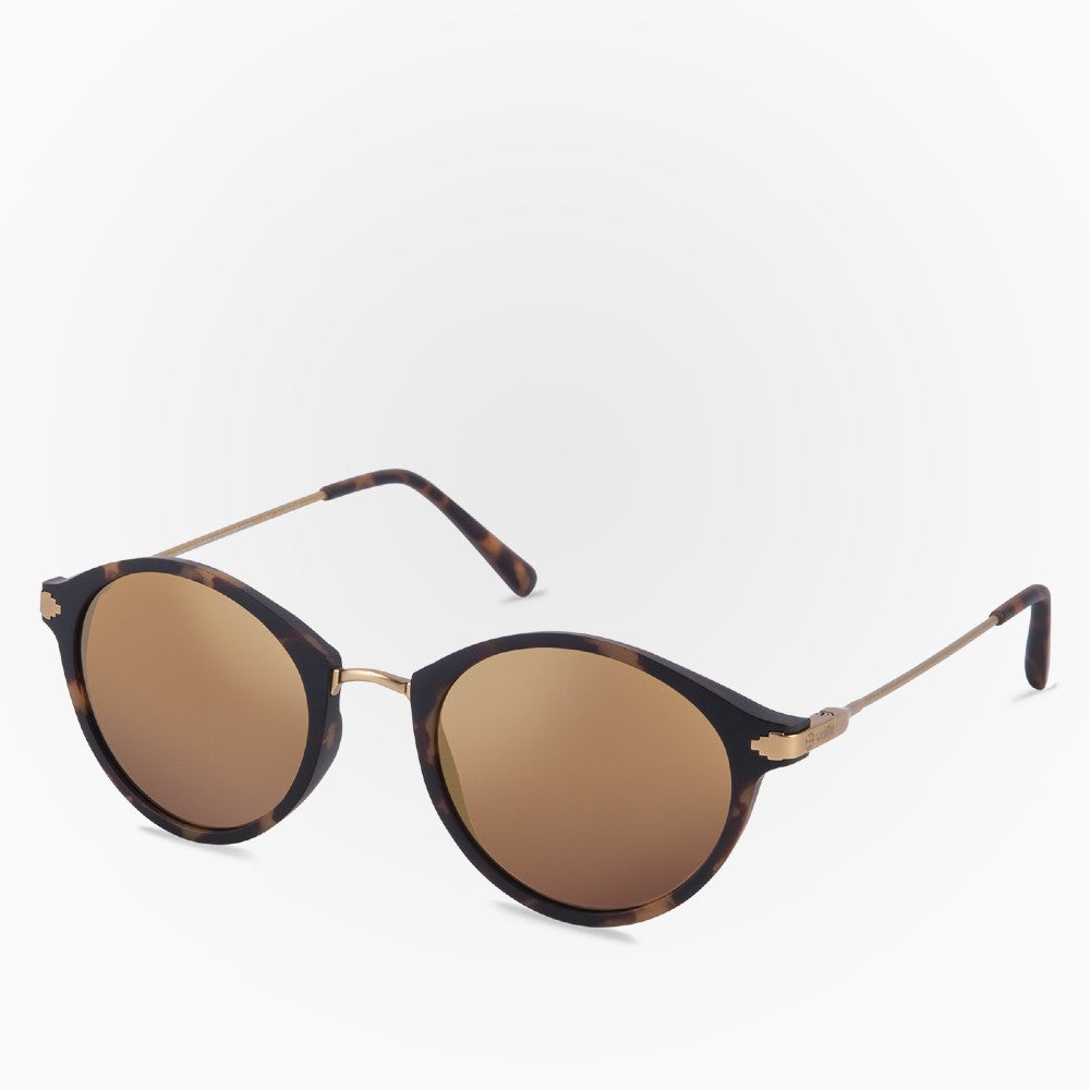 Side view of the Sunglasses Orca Karun color Havana Brown Coppermetal made with ECONYLu00ae regenerated nylon