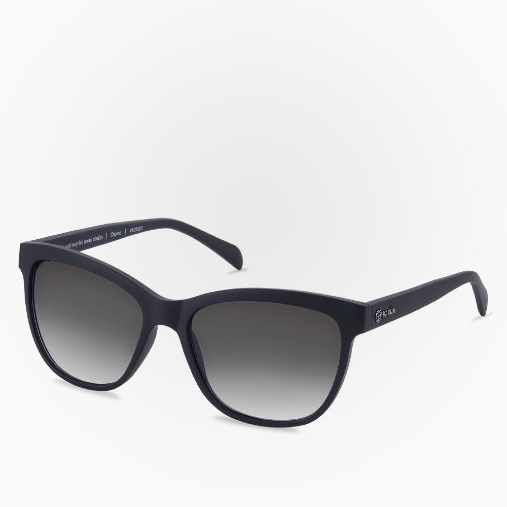 Side view of the Sunglasses Osorno Karun color Black Dark made with ECONYLu00ae regenerated nylon