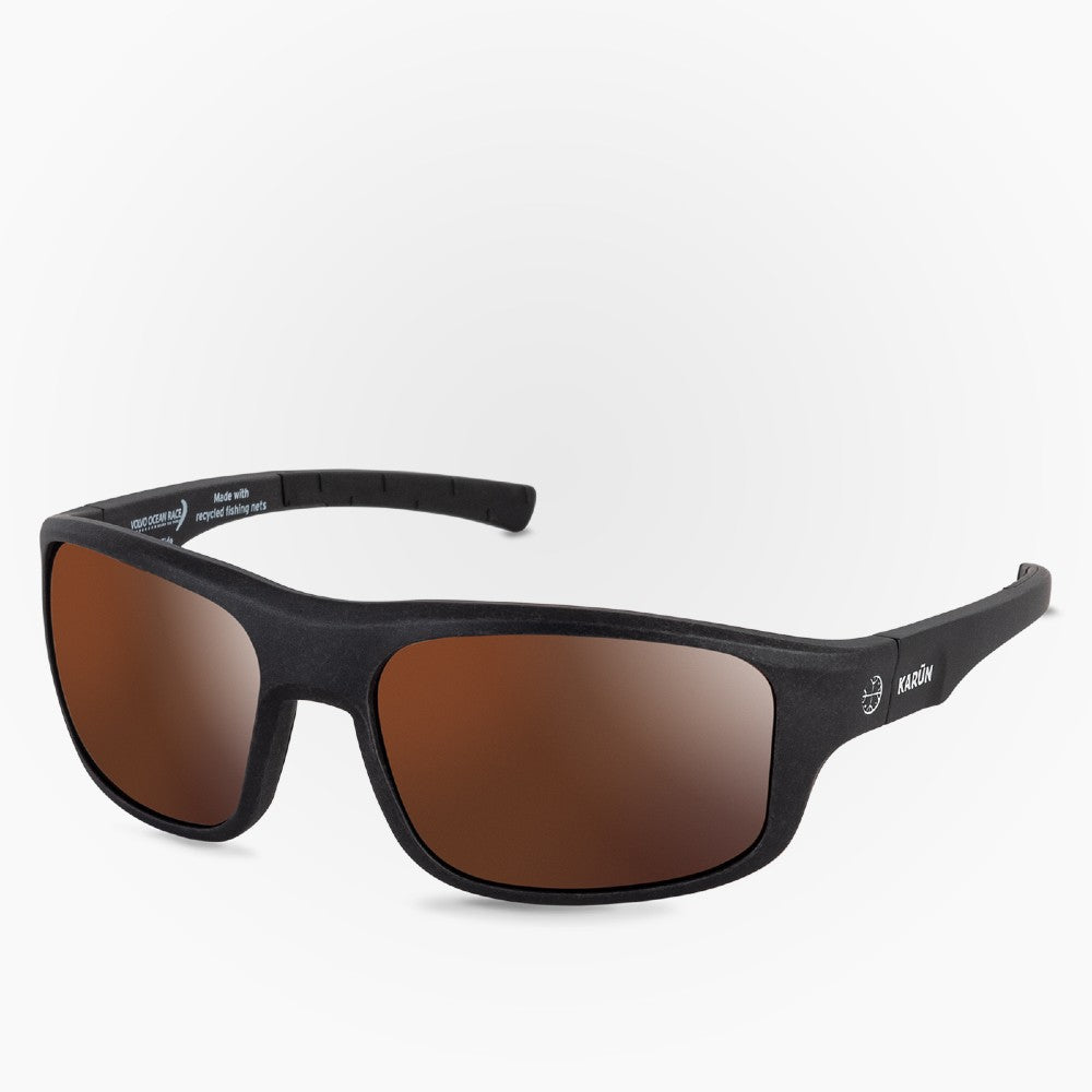 Side view of the Sunglasses Sailing Edition Karun color Black made with ECONYLu00ae regenerated nylon