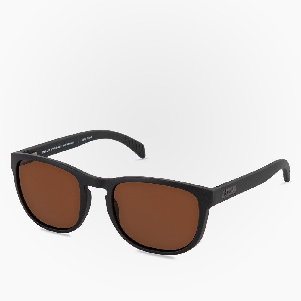Side view of the Sunglasses Tagua Tagua Karun color Black and Brown made with ECONYLu00ae regenerated nylon
