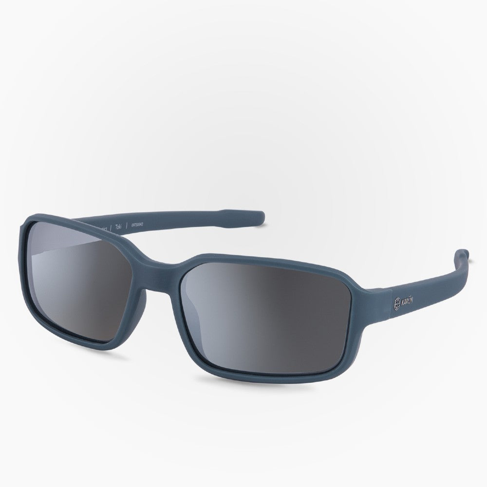 Side view of the Sunglasses Toki Karun color Blue made with ECONYLu00ae regenerated nylon