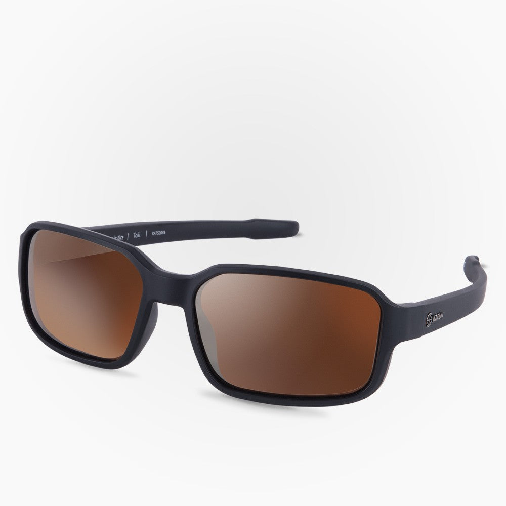 Side view of the Sunglasses Toki Karun color Brown made with ECONYLu00ae regenerated nylon