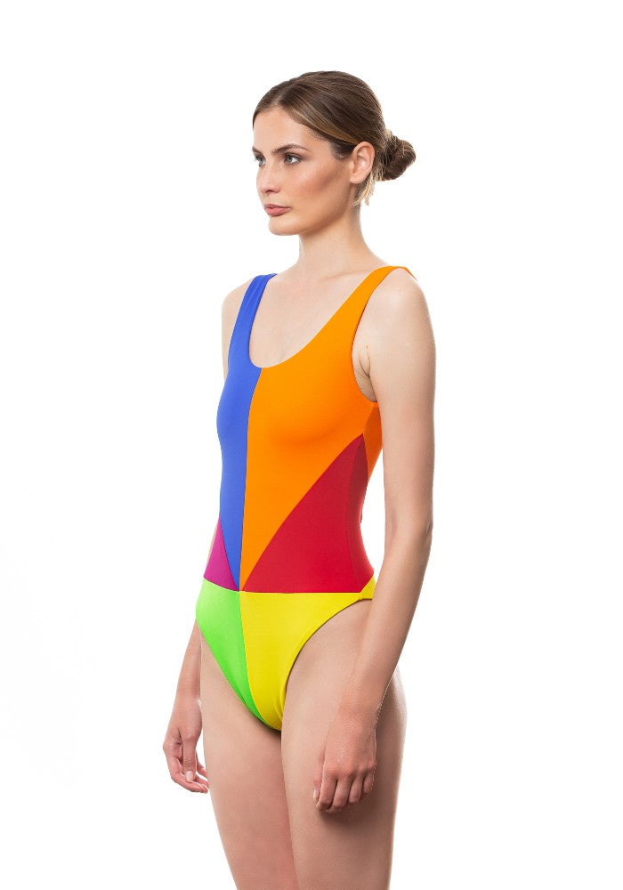 Side view of the Arcobaleno Swimsuit Ludovica Gualtieri Milano multicolor made with ECONYLu00ae regenerated nylon
