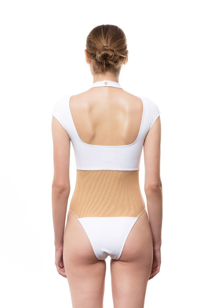 Back view of the Fortuna Swimsuit Ludovica Gualtieri Milano color White made with ECONYLu00ae regenerated nylon