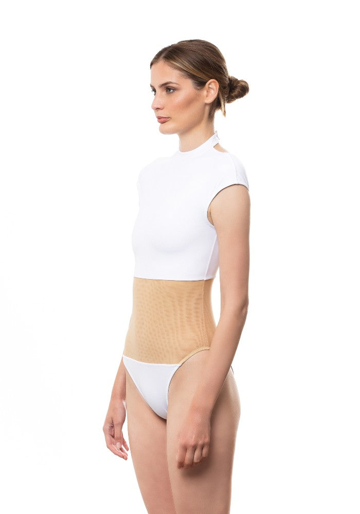 Side view of the Fortuna Swimsuit Ludovica Gualtieri Milano color White made with ECONYLu00ae regenerated nylon