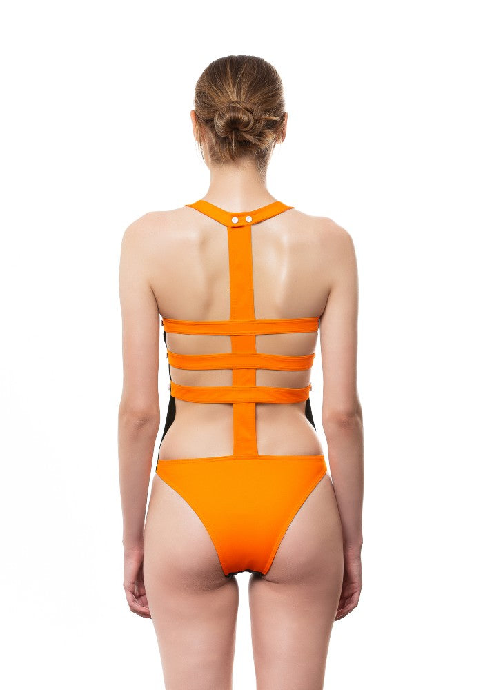 Back view of the Lisca Swimsuit Ludovica Gualtieri Milano color Black and Orange made with ECONYLu00ae regenerated nylon